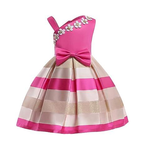 feiXIANG Vestido de niña sin Mangas sin Tirantes Vestido sin Tirantes Flor a Rayas Vestido Bordado