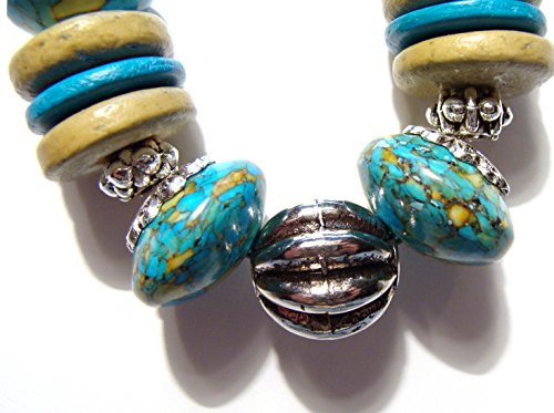 Turquoise Abacus Gemstone Bracelet with Silver and Wood Beads