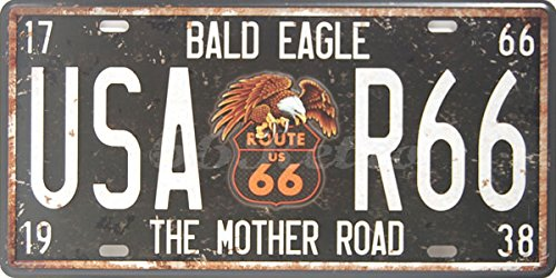 Bald Eagle USA-R66 The Mother Road, Auto License Plate, Embossed TAG Number, Size 6