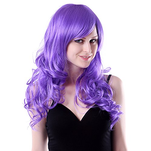 [HDE Womens Long Wavy Wig Curly Glamour Hair Style for Halloween Cosplay Costumes (Violet)] (Halloween Costumes Violet)