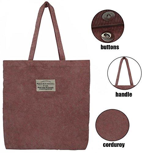 [ZZ Sanity Women Retro Shoulder Bag Corduroy Casual Tote Bag (Pink)] (Womens Pink Corduroy)