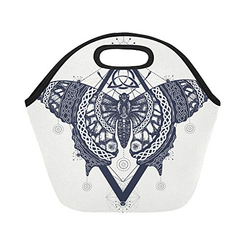 Insulated Neoprene Lunch Bag Butterfly Tattoo Art Celtic Style Mystical Large Size Reusable Thermal Thick Lunch Tote Bags Lunch Boxes For Outdoor Work Office - Butterfly Celtic Tattoos