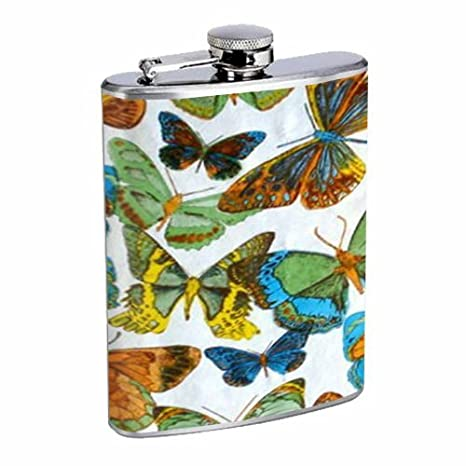 1960s Or 70s Mod Butterflies 1 Flask 8oz Stainless Steel D-304