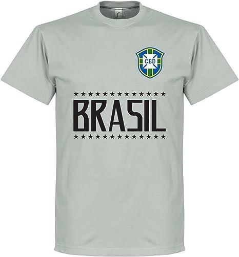 Retake Camiseta de Equipo de Brasil, Color Gris Claro, Talla L: Amazon.es: Deportes y aire libre