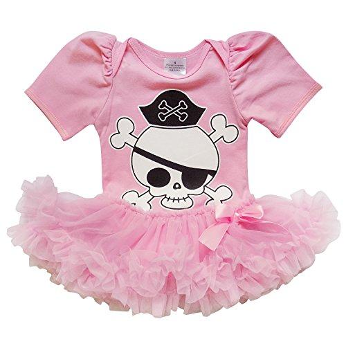 So Sydney Baby Infant Halloween Pirate Skull Tutu Chiffon Skirt Bodysuit Romper (S (3-6 Months), Girl/Pink) for $<!--$7.97-->