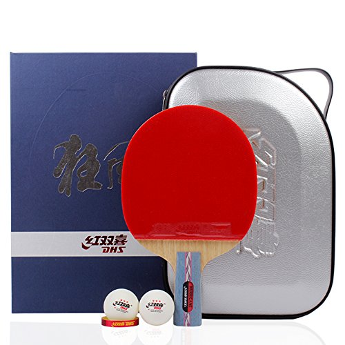 DHS Table Tennis Racket Ping Pong Paddle Hurricane No.1 (Short-handle) Double Pimples-in Bats Pen-hold Grip (Best Japanese Penhold Blade)