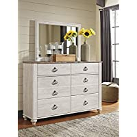 Willannet Casual Whitewash Color Wood Dresser And Mirror