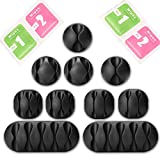#6: Bukey Cable Clips - Self-Adhesive Desk Cable Organizer, Durable Cord Management, Wire Holder, Wire Management System, Pack of 10, Black