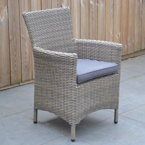 6 x de alta calidad silla de jardín ratán gris de estructura de aluminio color marrón jaspeado reposabrazos silla silla Jardín de Ratán Set de muebles de jardín: Amazon.es: Jardín