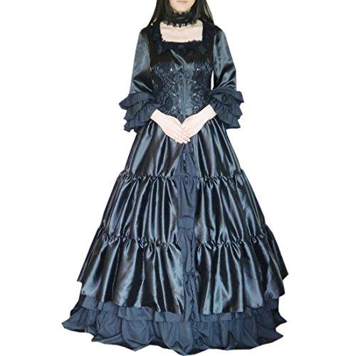 Kleid Rock Pastell Lolita Kleid Maskerade Square Damen Partiss Kostuem Gothic Gothic Prom Langarm Kleid Cosplay Schwarz Hals Choker Lolita Ballkleid 7UnnwqFpA