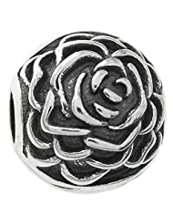 Sterling Silver Round Rose Stopper Clip Lock Bead for European Charm Bracelets