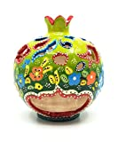 Handmade Traditional Turkish Pottery Pomegranate Shaped Candle or Incense Burner (Green, Medium 5'')