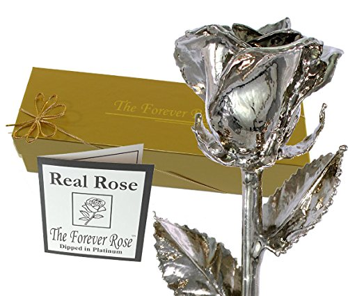 Gift Roses - Platinum Dipped Real Rose w/ Gold Gift Box by The Original Forever Rose USA Brand!