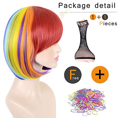SiYi Short Rainbow Bob Wig with Bangs Multi Color Straight Synthetic Wig Heat Resistant Cosplay Pastel Full Wig for Women -