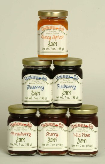 Chautauqua Hills Jams Assortment, six 7 ounce jars