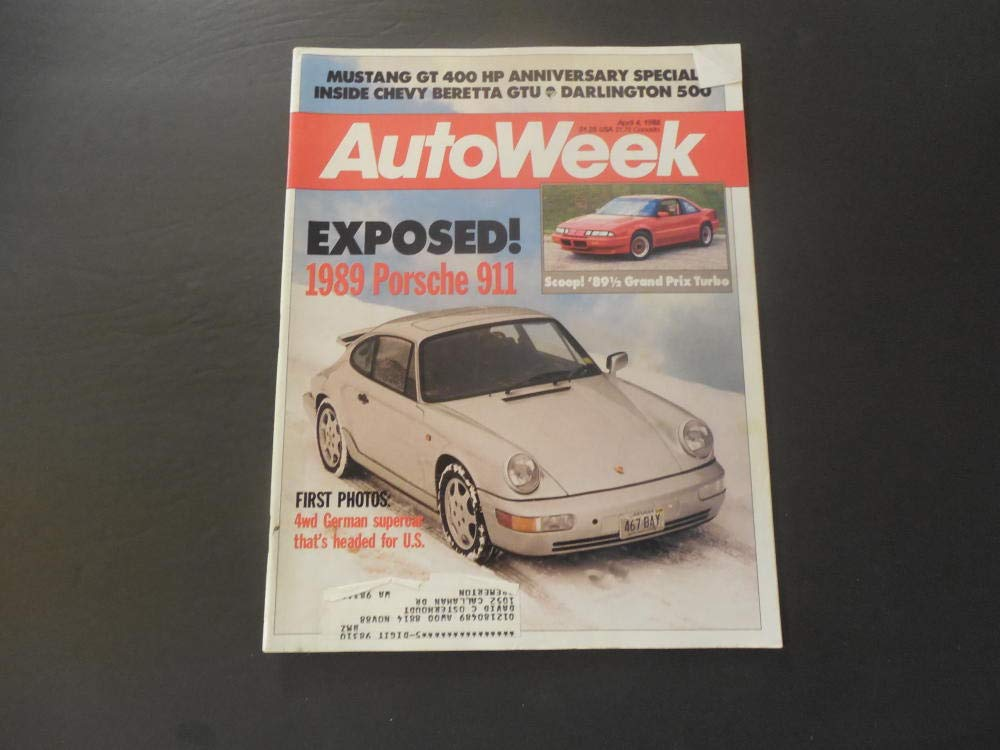 Auto Week Apr 4 1988 Porsche; Grand Prix Turbo (FOUR Hamsters On Meth) at Amazons Entertainment Collectibles Store