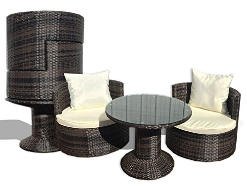 Deeco DM-GV-505 Art-Deck-Oh Geo Vino Interlocking All Weather Wicker Furniture Set