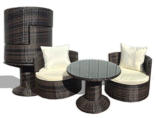 Deeco DM-GV-505 Art-Deck-Oh Geo Vino Interlocking All Weather Wicker Furniture Set