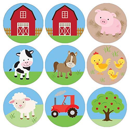 Barnyard Farm Animals Birthday Party Favor Labels | 180 Stickers (Farm Animals Stickers)