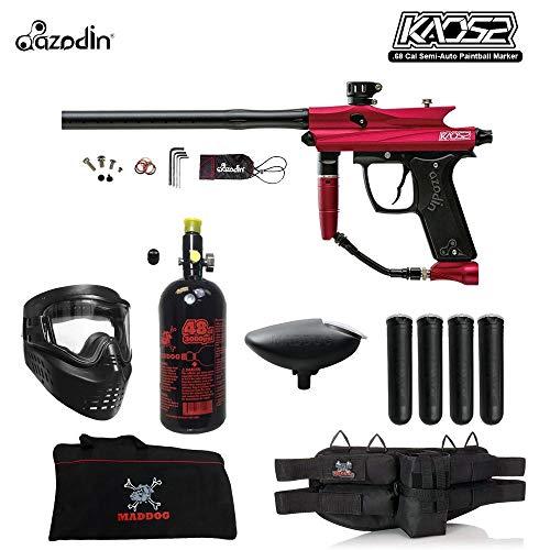 MAddog Azodin KAOS 2 Beginner HPA Paintball Gun Package B - Red/Black (Best Speedball Gun For Beginners)