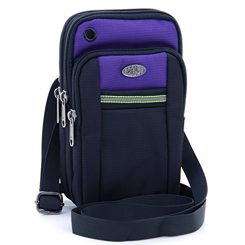 "Price comparison product image U-TIMES Casual Water Resistant Oxford Waist Pouch 6.5"" Crossbody Shoulder Cell Phone Bag for iPhone 6/6S,6Plus/6S Plus,Samsung Note 5,Note 4,Galaxy S7,S7 Edge(Purple)"