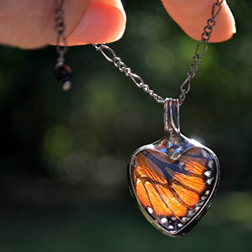 Handmade Monarch Butterfly Wing in Glass Pendant, Heart Jewelry for Women, New Tiffany Artisan Necklaces, Gift Ideas for Woman, Includes Gift Box, Ethically Sourced Necklace