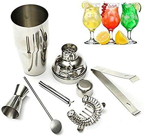 VAK 5-teiliges Cocktail-Set aus Edelstahl, Cocktail-Shaker 550 ml, Eis-Sieb, Clip-Zange, Löffel, Messbecher, Bar-Hilfsmittel