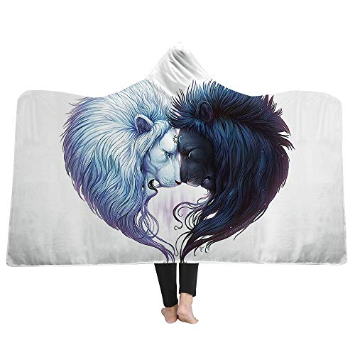 WSHINE White Hooded Blanket Black and White Lion Head Wearable Blanket Fleece Throw for Kids, Childrens, Youth, 50