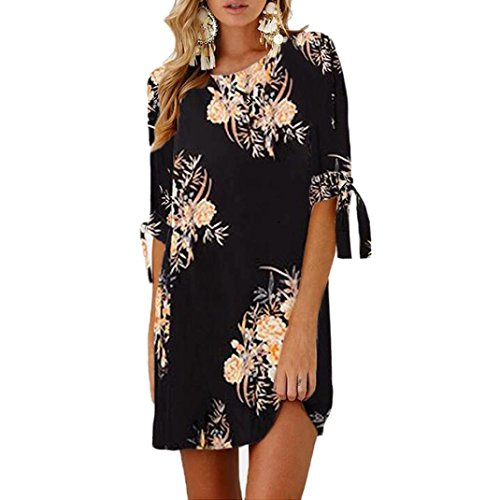Bowknot Stamp Dress Sleeves Cocktail Dress G Women Casual Mini Print Party Lady Floral Tethered Tian Dress Black q8E77v