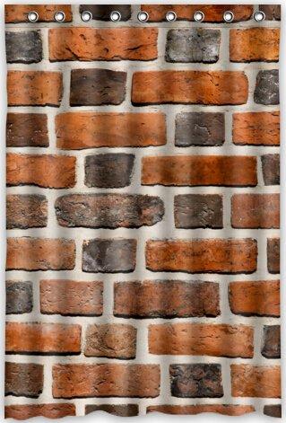 Brick Wall Waterproof Fabric Polyester Bathroom Shower Curtain 48quotw