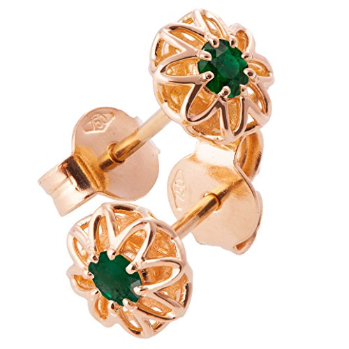 18K Solid Rose Gold Unique Celtic Earrings For Women Set With Emeralds by Doron Merav
