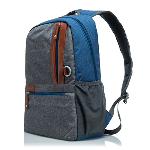 """GLACIAL Urban 19L Unisex Backpack - Water Resistant Casual Leather & Polyester Bookbag For Students - Daypack Fits 15"""" Laptop or Tablet & Textbooks for College, School or Travel (Urban Backpack Laptop Canvas)"""