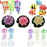 buytra 16 Pack Fish Tanks and Aquariums Decorations Ornaments Set with Artificial Plants,Glowing Artificial Jellyfish,Artificial Floating Water Lily Lotus,Plastic Artificial Tropical Fish
