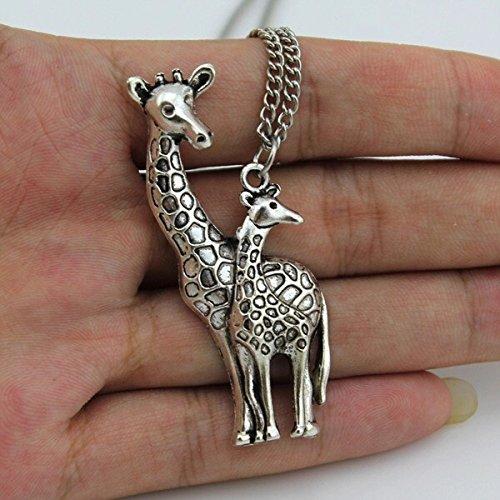Women Jewelry Vintage Silver Mother's Love Giraffe Pendant Necklace - Turkey Bulgari