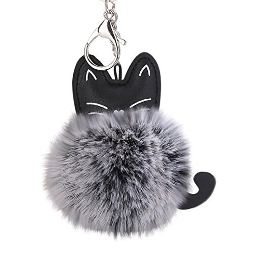 Lady Key Ring - kemilove Cute Cat Keychain Pendant Women Key Ring Holder Pompoms Key Chains (Black)