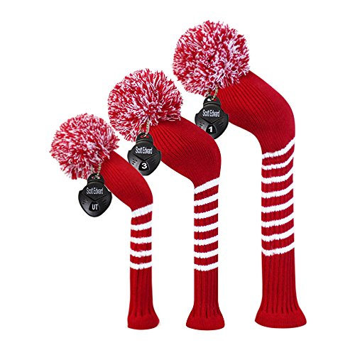 Scott Edward Crimson Red Classic Strip Golf Pom Pom Head Covers Set of 3 for Wood Clubs, with Rotating Number Tags