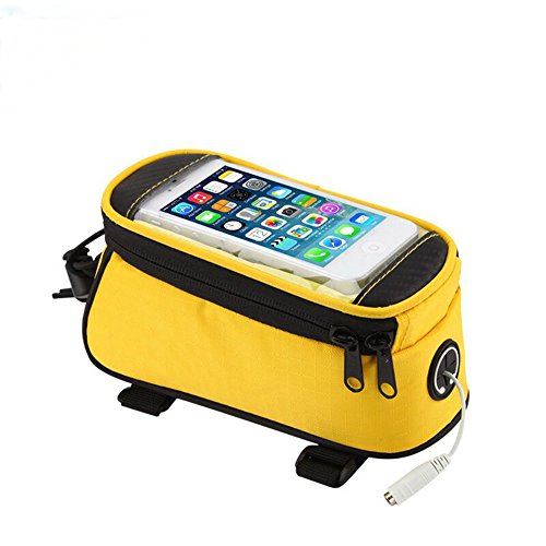 [JOY COLORFUL Bicycle Bags Bicycle Front Tube Frame Cycling Packages 4.2,4.8,5.5 inches Touch Screen Mobile Phone Bags Professional Bicycle Accessories (Yellow, Large)] (Handlebar Map Holder)