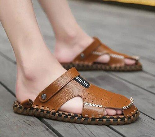 Xing Lin Flip Flop De La Playa Nuevo Hombre De Sandalias De Playa De Doble Uso Zapatos Verano Hombres Transpirable Zapatos Casual Zapatillas Sandalias Zapatos Marea De Hombres D93 brown