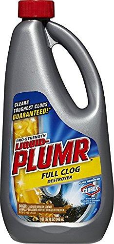 Liquid-Plumr Pro-Strength Clog Remover, Full Clog Destroyer, 32 Fluid Ounces (2) (2, 32 Oz)