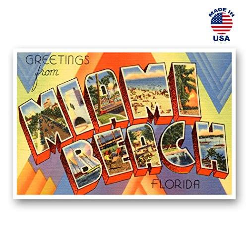 GREETINGS FROM MIAMI BEACH, FL vintage reprint postcard set of 20 identical postcards. Large letter Miami Beach, Florida state name post card pack (ca. 1930's-1940's). Made in USA.