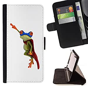For Samsung Galaxy Note 4 IV Frog Flying Hero White Minimalist Style PU Leather Case Wallet Flip Stand Flap Closure Cover