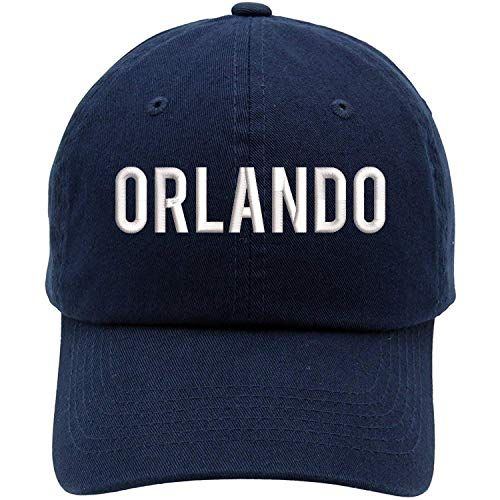 TOP LEVEL APPAREL Orlando City Text Embroidered Low Profile Soft Crown Unisex Baseball Dad Hat Navy
