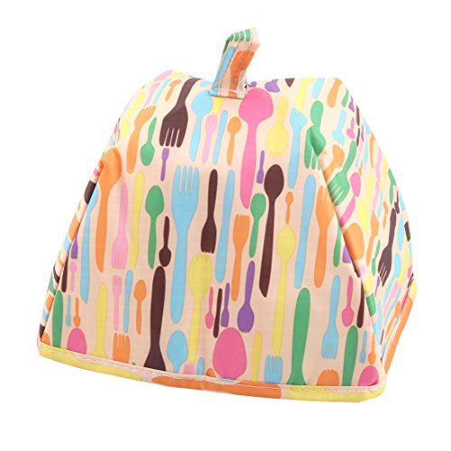 uxcell Oxford Fabric Forks Pattern Home Outside Zipper Closure Food Holder Cooler Bag Orange