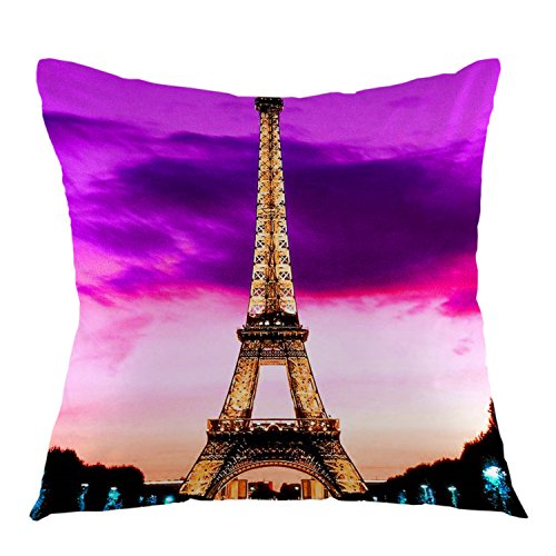 - oFloral Eiffel Tower France Paris Home Decorative Throw Pillow Case Square Cushion Cover for Sofa Bed Chair Couch Decoration 18 x 18 Inch Purple