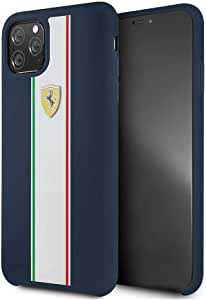 Ferrari Silicone Case On Track & Stripes Navy iPhone 11 Pro Max - Navy