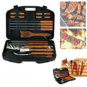 Barbecue 1 Set 18 PCS Stainless Steel Outdoor Steak Grill Set Utensils Tools for Camping Outdoor Activities Handle Brush Pinceis Blade Fork Tongs BBQ Tools barbacoa GR-16