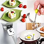 Fried Egg Mold Ring Set of 10 - CHANMOL Stainless Steel Non-Stick Egg Shaper Ring with Silicone Pastry Brush and Egg Separator, Kitchen Cooking Tools for Kids and Lovers 13 BRILLIANT DESIGN -- Star/Heart/Sun/Plum Flower/Mouse/Horse/Elephant/Bear 8 different lovely molds making pancake or egg with funny shapes easily. You can use them to make any delicious food you can think about, such as dessert, pastry, chapatty, jelly. Just have them and get your imagination started! PREMIUM QUALITY-- Our egg molds are made of stainless steel 18/8 with passed FDA certification ,and fully surgical-graded stainless-steel interior and outside , which gives it a brilliant, durable, rust-resistant finish that is easy to maintain, and will last a lifetime. CONVENIENCE-- Single weight about 32g, compact, durable & easy to use. Foldable handles with heat resistance silicone prevents burns to the hands, convenient to move and store. One silicone pastry brush and one egg yolk white separator are also included as bonus for you.