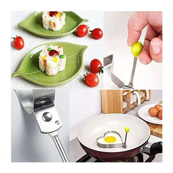 Fried Egg Mold Ring Set of 10 - CHANMOL Stainless Steel Non-Stick Egg Shaper Ring with Silicone Pastry Brush and Egg Separator, Kitchen Cooking Tools for Kids and Lovers 6 BRILLIANT DESIGN -- Star/Heart/Sun/Plum Flower/Mouse/Horse/Elephant/Bear 8 different lovely molds making pancake or egg with funny shapes easily. You can use them to make any delicious food you can think about, such as dessert, pastry, chapatty, jelly. Just have them and get your imagination started! PREMIUM QUALITY-- Our egg molds are made of stainless steel 18/8 with passed FDA certification ,and fully surgical-graded stainless-steel interior and outside , which gives it a brilliant, durable, rust-resistant finish that is easy to maintain, and will last a lifetime. CONVENIENCE-- Single weight about 32g, compact, durable & easy to use. Foldable handles with heat resistance silicone prevents burns to the hands, convenient to move and store. One silicone pastry brush and one egg yolk white separator are also included as bonus for you.