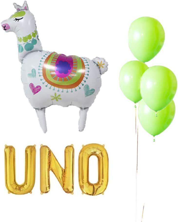 UNO Birthday Party Decorations, UNO Balloons Cactus Llama Fiesta Mexican Themed Banner for 1st First Fiesta Taco 2sday Twosday 2nd Birthday Birthday Cinco de Mayo 10PCS Kit of Qinsly (UNO, Llama)