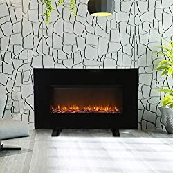 "38"" Embedded Electric Fireplace Insert Freestanding Heater w/Remote Control Glass View Log Flame,Color Change, Wood Black from Wonlink"